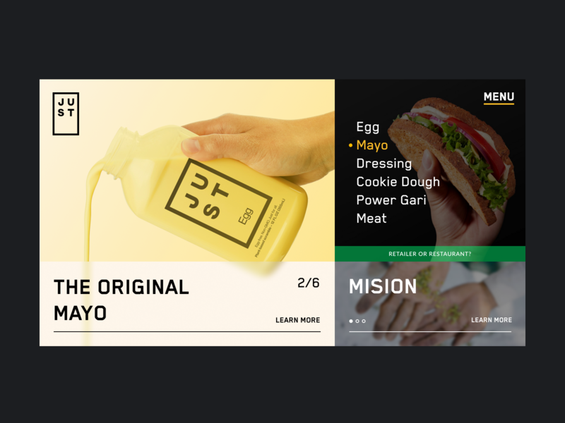 JUST — Landing page food product minimal web clean