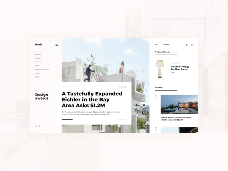 Dwell redesign concept web typography ui design