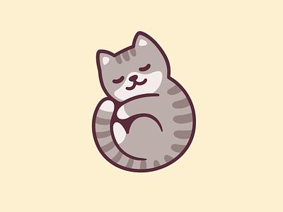 Cat nap tabby catnap design illustration cute vector cartoon sleep nap cat