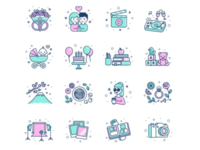 Photography icons fuji pink minimal video couple baby birthday event photo studio food illustration wedding camera photography icons design flat icon cartoon vector
