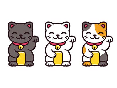 Maneki Neko drawing black character kawaii cat icon illustration cute cartoon vector maneki neko