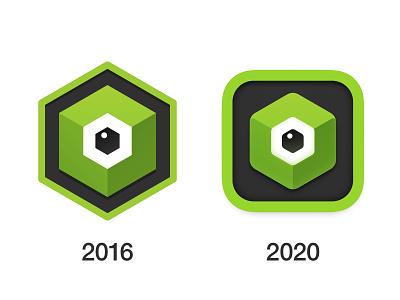 New icon for Qbserve app icon hexagon logo hexagon eye macos big sur app logo icon ui