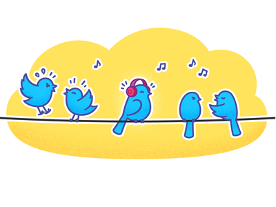 Twitter birds birds fighting header illustration cute art vector illustration wire bird twitter