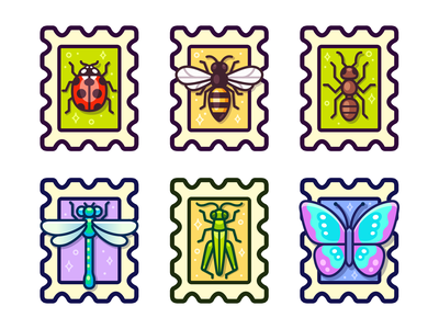 Insects set ladybird design vector illustration grasshopper icon butterfly dragonfly ant bee ladybug bug insect