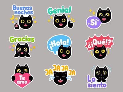 ConjuGato Cat Stickers stickers black cat cat gracias hola español spanish illustration cute cartoon vector