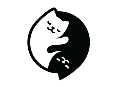 Yin Yang Cats kawaii minimal simple couple harmony balance cute white black cat yin yang