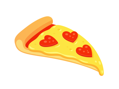 Pizza love slice heart love cheese salami vector food pepperoni pizza
