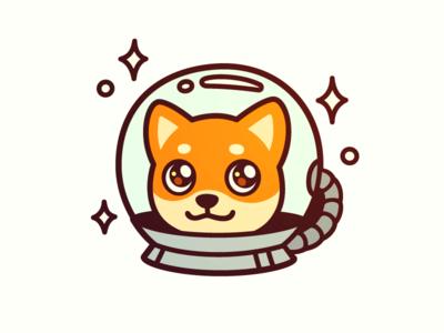 Space doggo astronaut illustration kawaii character face cute cartoon vector portrait space dog