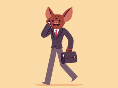 Manbat funny businessman manbat batman man bat illustration cartoon character
