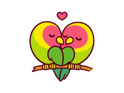 Lovebirds parrot vector pair lovebirds love heart cute couple birds cartoon