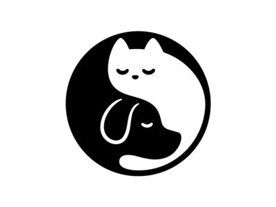 Yin Yang Cat and Dog white black minimalism minimal simple harmony yin yang dog cat cute logo cartoon vector