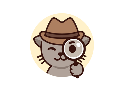 UX Case mascot hat looking glass magnifying glass fedora face vector design character illustration cute cartoon mascot detective cat