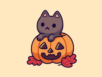 Pumpkin Kitty kitten drawing autumn october halloween pumpkin black character kawaii cat vector illustration cute cartoon