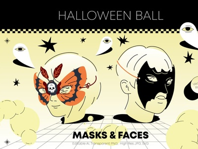 Halloween Ball. Masks And Faces motion graphics 3d animation ux vector ui logo icon illustrator graphic design design illustration branding