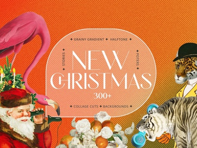 Christmas New Year Gradients Collage motion graphics 3d animation ui ux vector logo icon illustrator graphic design design illustration branding