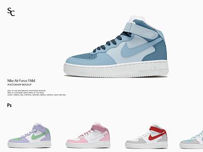Nike Air Force 1 Mid | Shoe Mockup motion graphics 3d animation ux vector ui icon logo illustrator graphic design design illustration branding
