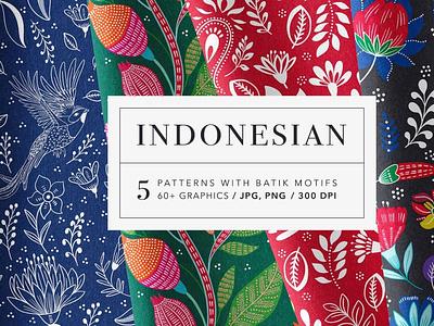 Indonesian Floral Batik Patterns Set motion graphics 3d animation ui ux vector logo icon illustrator graphic design design illustration branding