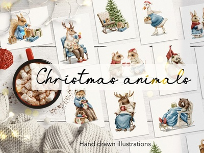 Christmas animals ux motion graphics 3d animation ui vector icon logo illustrator graphic design design illustration branding