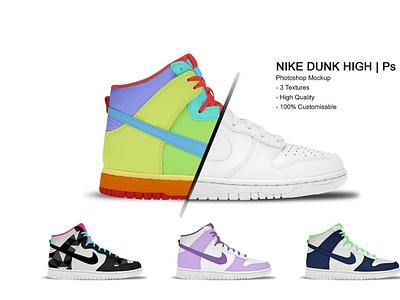Nike Dunk High | Photoshop Mockup ux vector logo motion graphics 3d animation ui design icon illustrator graphic design illustration branding