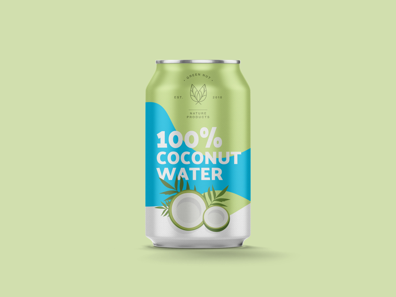 Coconut water | Packaging typography vector illustration package water branding mockup can coconut