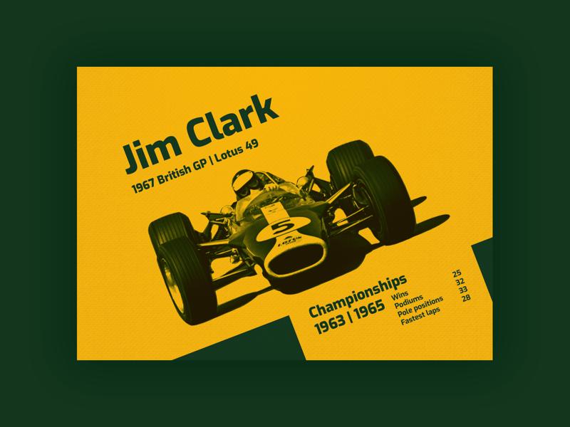 Jim Clark | Poster circuit road title championship formula1 british lotus champion racing formule car print legend vintage poster