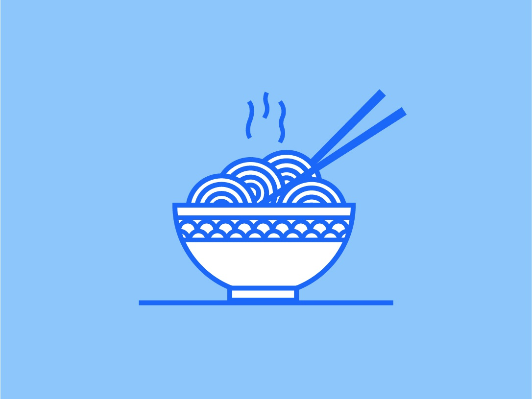 Warm noodles everyday one color lines food icon illustration