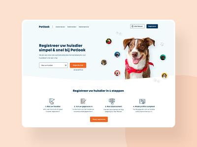 Concept homepage for a pet registration platform white simple focus clean hero section hero image header design webdesign