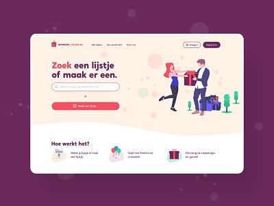 Wish list platform web typography simple branding vector ui website clean illustration design