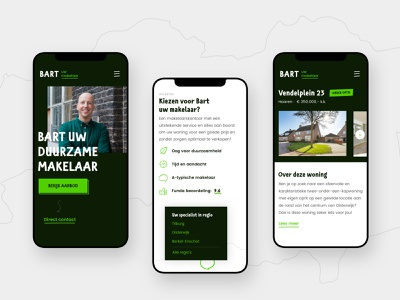 Mobile views for a Real Estate Agent simple focus mobile ui website clean design