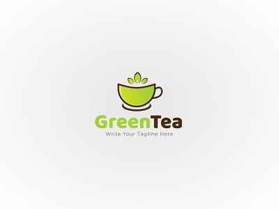 green tea logo care cup cosmetics design element tree packaging label flower badge icon sign tea logo vector emblem organic floral green herbal