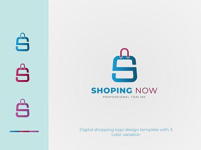 Digital shopping logo design shop logo brand web technology market website app bag icon s letter logo marketing supermarket template store sale