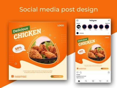 Delicious fast food chicken social media post social media post food flyer fast food fast eatery discount dinner digital design delicious food delicious creative concept chicken business breakfast banner background advertising