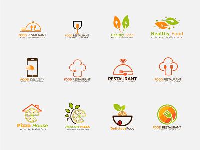 a set of food logo design collection vegitable collection logos food service healthy restaurant food