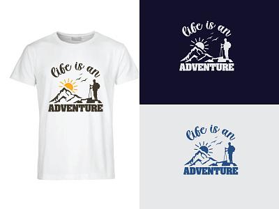 adventure t-shirt design typography illustration landscape time to travling summertime sunset mountain climbing travel t-shirt design t-shirt adventure