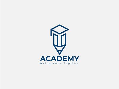 Education academic minimal logo design template template vector literature knowledge hat pen branding design academy logo minimal logo education