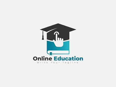 Online Education logo design students internet digital univercity school vector template academy branding logo education online
