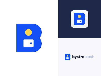 bystrocash logo design vector branding monogram letter shape geometry blue flat design minimal b money wallet coin cash