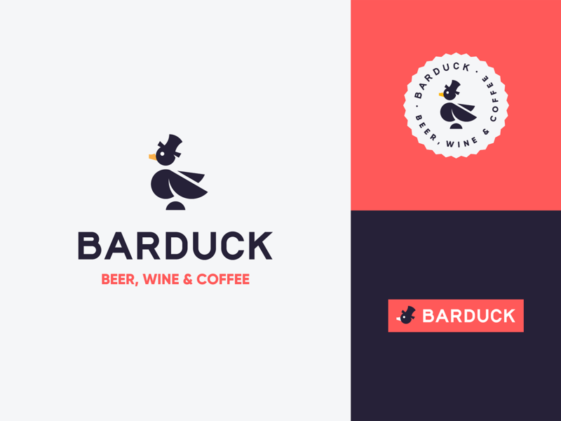 Barduck duck logo drinks bird gentleman hat animal logo mascot beer wine bar goose duck