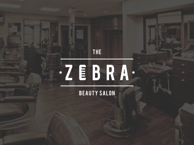 Zebra zebra salon beauty barber shop style minimal flat logo store