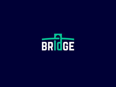 Bridge mobile app people connection minimal logo typography bridge