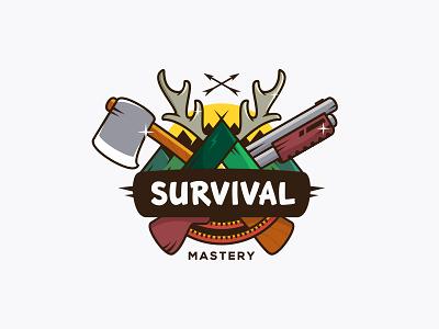Survival Mastery logotype logo tent rope wood mastery arrow forest shotgun gun axe survival