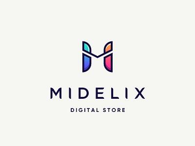 Midelix colorful gradient letter minimal color gadget store logo m digital