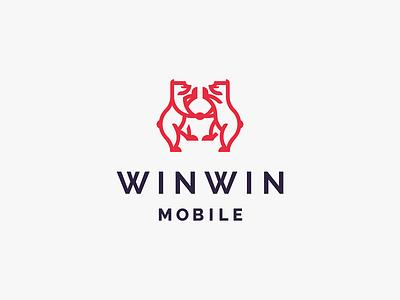 Winwin studio company lineart line minimal bear logo development indie games gaming mobile
