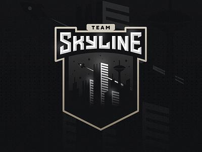 Skyline team mascot icon branding identity illustration cityscape city stars rocket logo building skyline esports logo esports esport logo esport