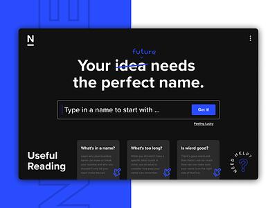 Namerator.app Business Name Generator websites business name search website design minimal typography uxdesign uxui website design app modern ux ui