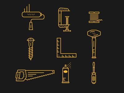 Minimal Tool/Hardware Illustrations working illustration line art hardware tools