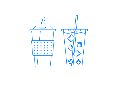 Hot Coffee / Iced Coffee simple minimal illustration icon line art coffee
