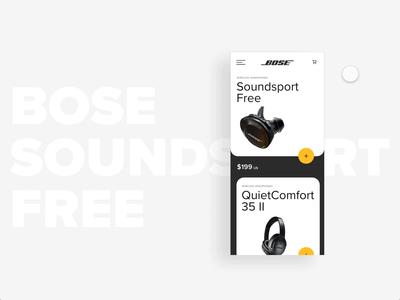 Bose Soundsport Free Mobile mobile design mobile ui motion graphic sound headphones music app mobile motion design design ui ux