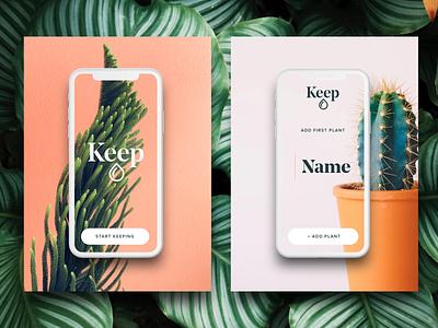 Keep First Plant app design onboarding natural nature minimal modern keep plants ux ui app
