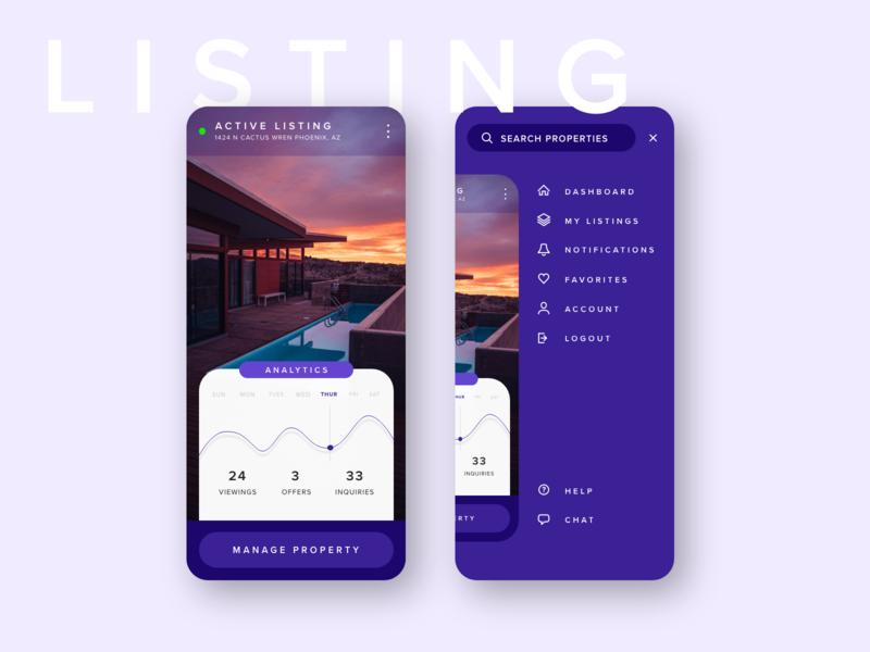 Real Estate App - Listing & Menu View modern design xd purple interaction design navigation menu ux ui app